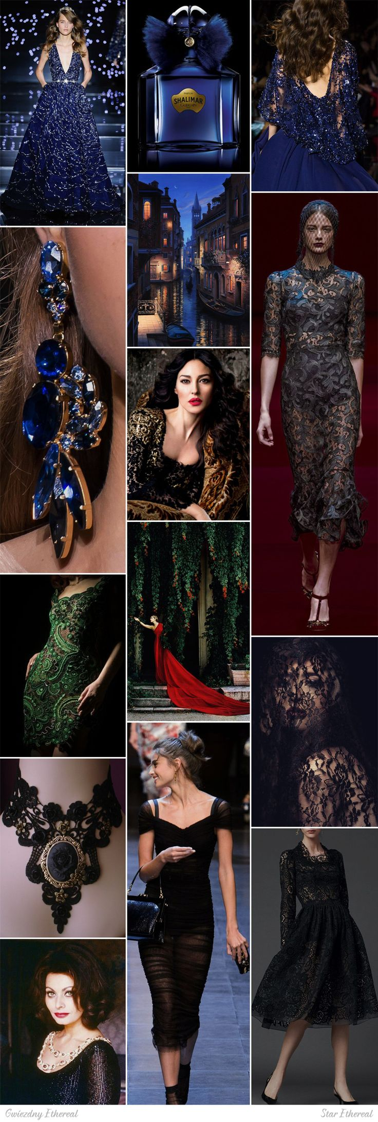 Star Ethereal moodboard. One of 18 beauty types created by GretaKredka. Subtle lace, black, velour, light velvet, chiffon, rich jewelry with gems, wavy hair. Color essence: Deep Winter.