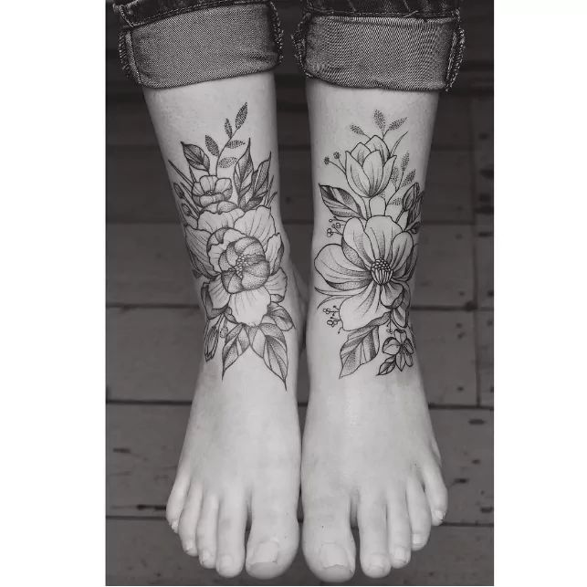 floral foot tattoo by tritoan ly
