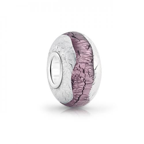 Purple Amethyst Color Silver Foil Murano Glass Bead Pandora Compatible