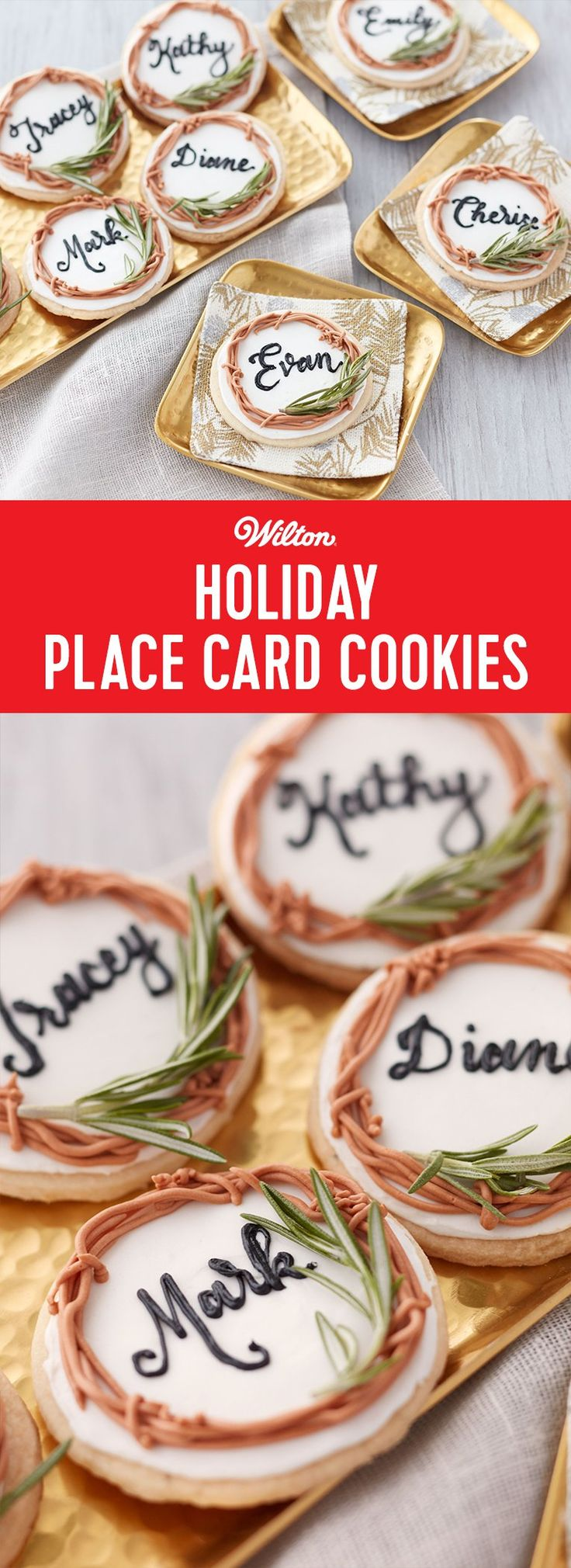 How to Make Holiday Place Card Cookies - Customizable cookie place cards? Your holiday guests will say 'yes, please' and 'thank you' for these yummy nameplates in their honor at your Christmas, Hanukah or New Year's Eve dinner table. Made from sweet and savory rosemary-lemon shortbread cookies and decorated with royal icing, they are the perfect start and end to a celebratory feast with friends and family. Recipe makes about 12 cookies.