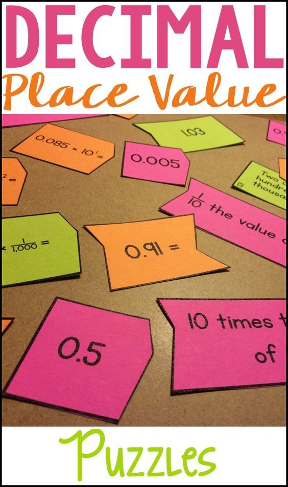Use these easy-to-cut decimal place value puzzles as a fun way for students to practice base-ten place value, powers of ten, decimal forms, comparing and ordering decimals, and rounding decimals. These decimal puzzles make great math centers!