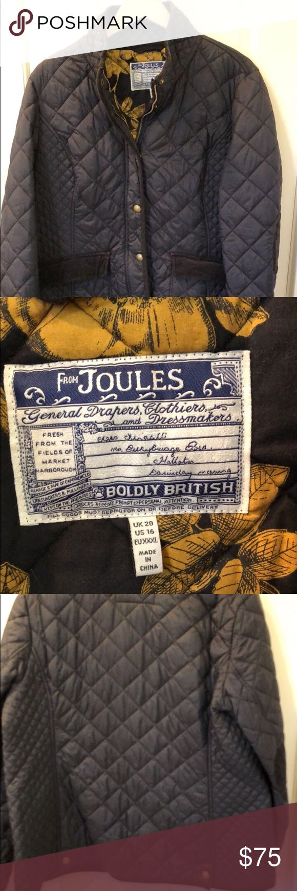 Joules Quilted Jacket and Scarf Black quilted Joules jacket with black and gold print lining. Huge scarf is the reverse of the lining. Corduroy trim. Zipper and snaps. Top snap is a 🦊! My absolute favorite but I lost 45 pounds and it's too big. Joules Jackets & Coats