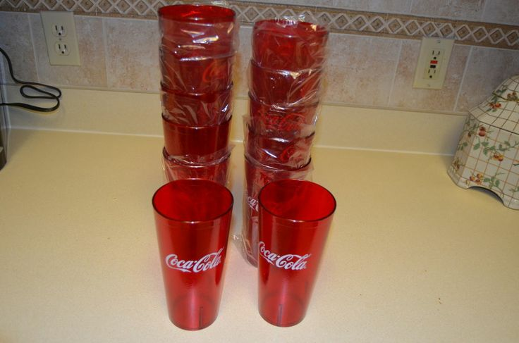 NEW 12 Coca Cola Tumblers 24 oz Ounce  Red Pebble Restaurant Coke Cups Glasses