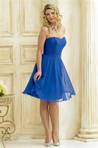 Short Chiffon Bridesmaid Dresses, Royal Blue Chiffon Dress, Short Gown $92.00