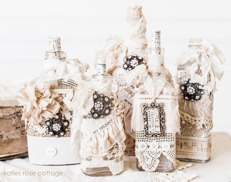Vintage lace decorated bottles wine bottles glasses and - How to decorate old bottles ...