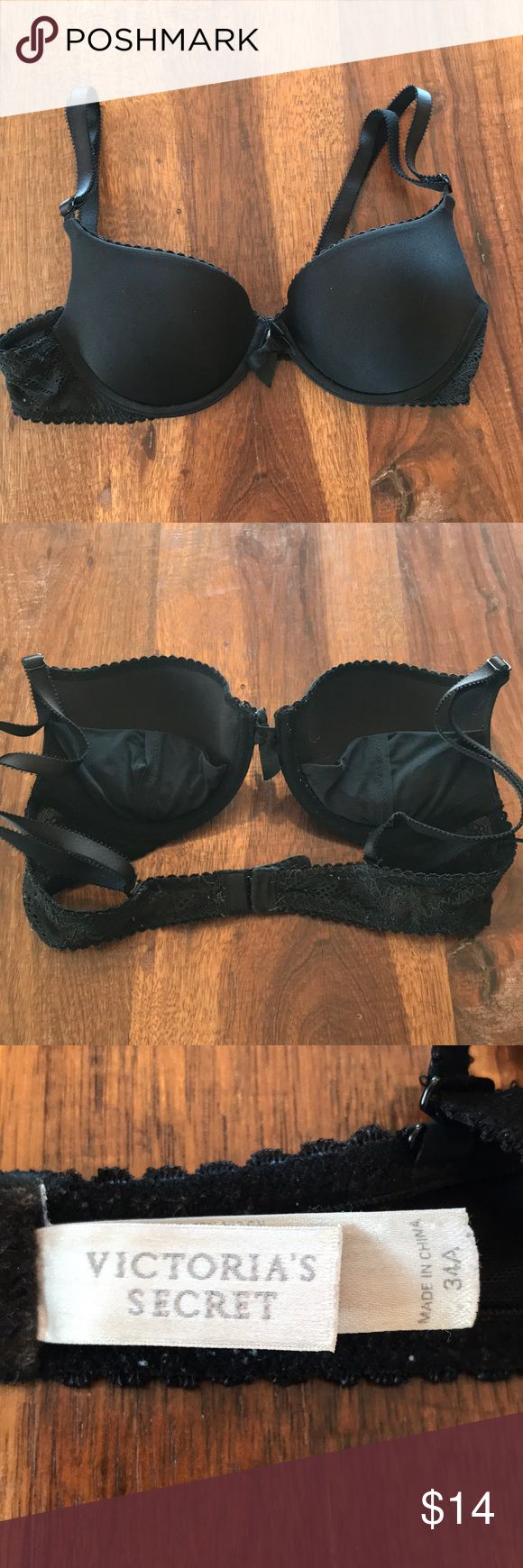 VS Black Push Up Bra 34A Black push up bra from Victoria's Secret with removable pads in cups. Straps are adjustable and can be converted to cross cross in the back. Size 34A. Good pre-loved condition but it has a lot of life left in it! Victoria's Secret Intimates & Sleepwear Bras