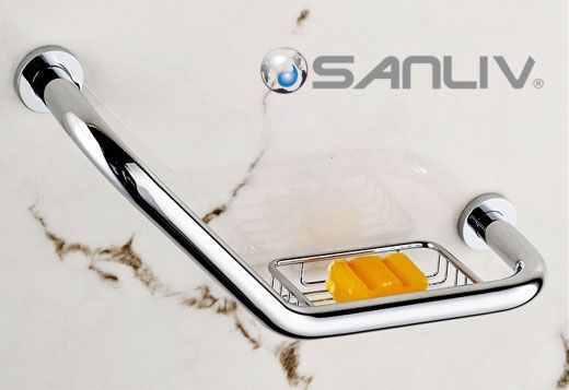Shower Grab Bars & Bathtub Safety Rails, Chrome Shower Grab Bar with Soap Holder 5891.