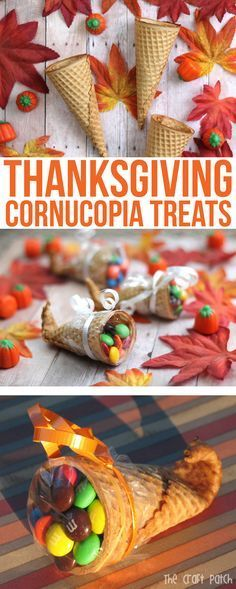 Easy Thanksgiving Sugar Cone Cornucopias Filled with Candy