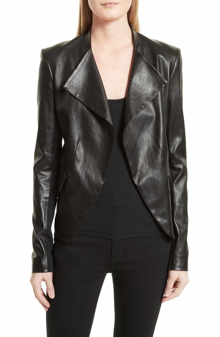 Main Image - Theory Bristol Peplum Leather Jacket