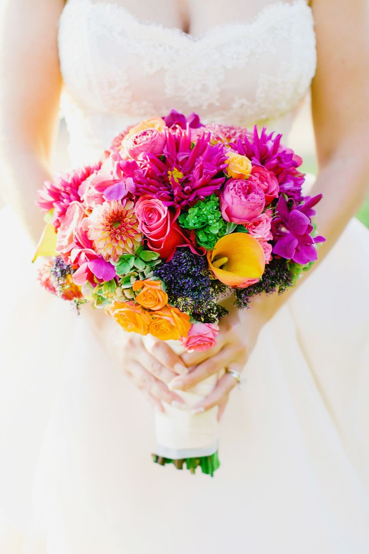 Bright and colorful calla lily, dahlia, orchid and rose wedding bouquet: Floral Design: Wine Country Flowers - http://www.stylemepretty.com/portfolio/wine-country-flowers Photography: Milou and Olin - milouandolin.com/   Read More on SMP: http://www.stylemepretty.com/california-weddings/2017/02/13/getting-married-al-fresco-never-looked-so-pretty/