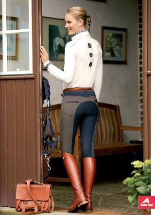 navy and brown breeches with cognac boots and belt