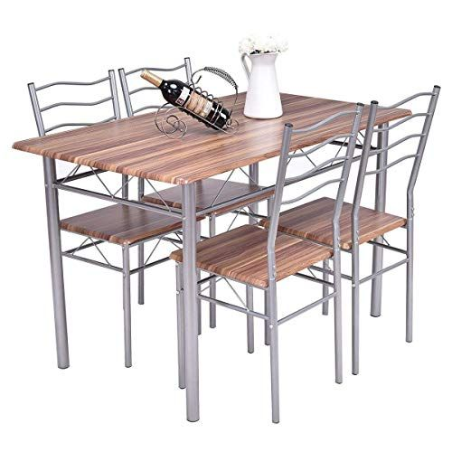 BeUniqueToday 5 pcs Wood Metal Dining Table and Chairs Set Modern