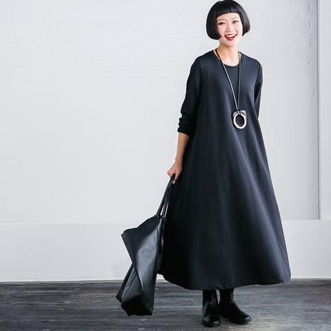 Black Maxi Size Casual Loose Long Dresses Women Clothes Q2627A
