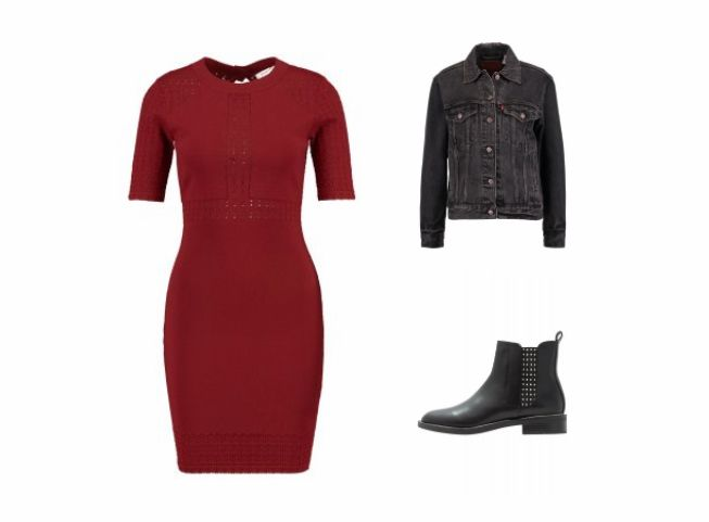 Partyoutfit für Josephine (28) #red #dress #black #jeansjacket #rocky #boots #knitwear #partystyling #partydress #zalonfaehig #fashion #styling