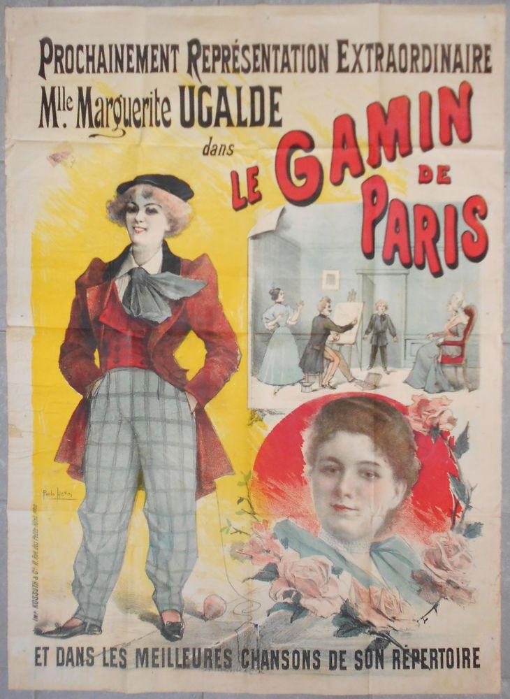 Affiche ancienne Théatre LE GAMIN DE PARIS Marguerite Ugalde PAOLO HENRI 1907 #chrisdeparis 450€