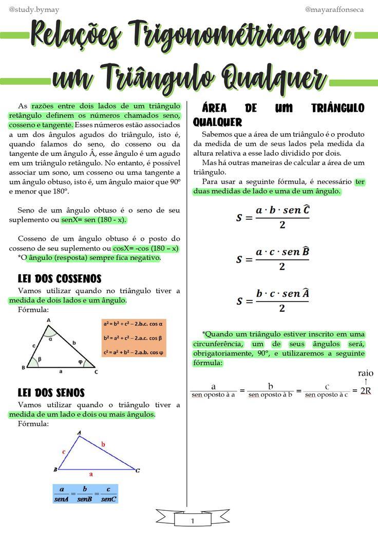Resumo Relações Trigonométricas em um Triângulo Qualquer
