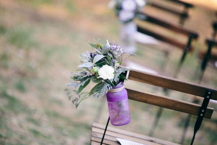 Handmade 'lace wrap' jars, simple flowers.