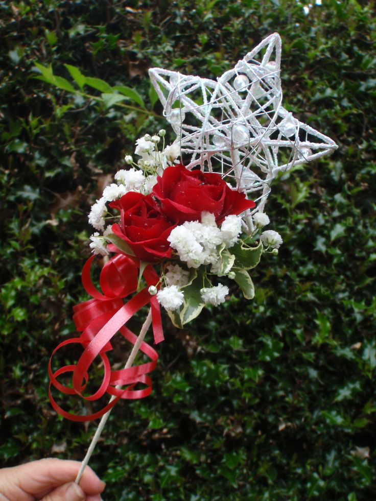 Silver Star Wand with Red Eagle Roses for Little Bridesmaids