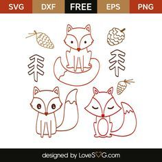 *** FREE SVG CUT FILE for Cricut, Silhouette and more *** Little fox outline