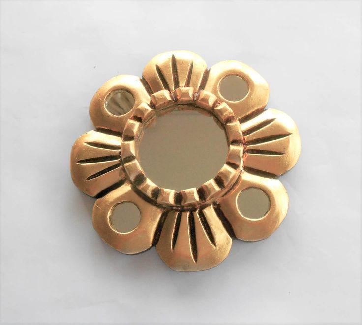 """6"""" , Round Mirror, Decorative Mirror, Gold Leaf Mirror, Gold Frame Mirror, Flower Mirrored Mirror, Wall Mirror Decorative ,Mirror Gold by GoldLeafGirl on Etsy"""