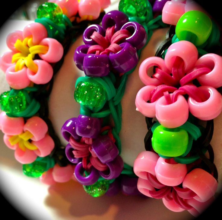Made by Mommy's Beaded Flower Bracelet for the Rainbow Loom