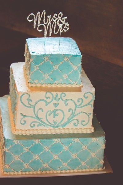 "Teal + gold ornate wedding cake idea - three-tier wedding cake with ornate frosting decor + gold glitter laser-cut ""Mrs. & Mrs."" cake topper {Jessica Yahn Photography}"