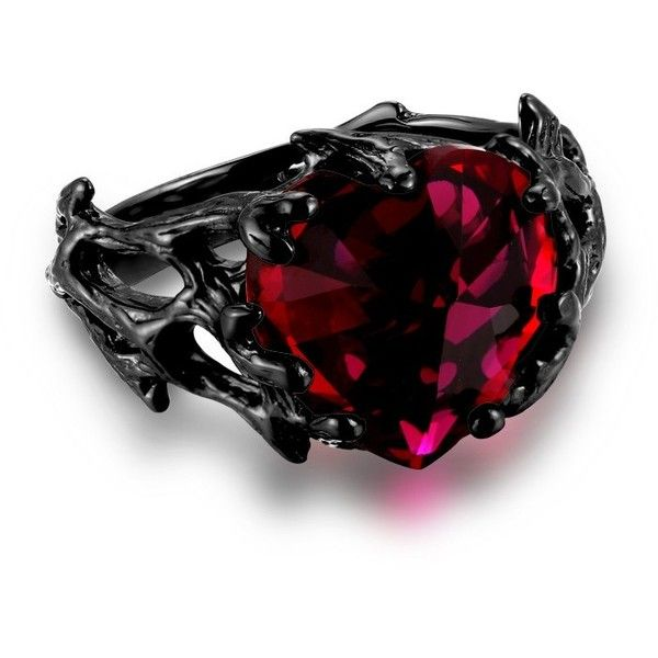 Women's Black Ring Ruby Heart 925 Sterling Silver Gothic Style 'The... ($99) ❤ liked on Polyvore featuring jewelry, rings, ruby jewelry, ruby ring, gothic rings, goth jewelry and gothic jewelry