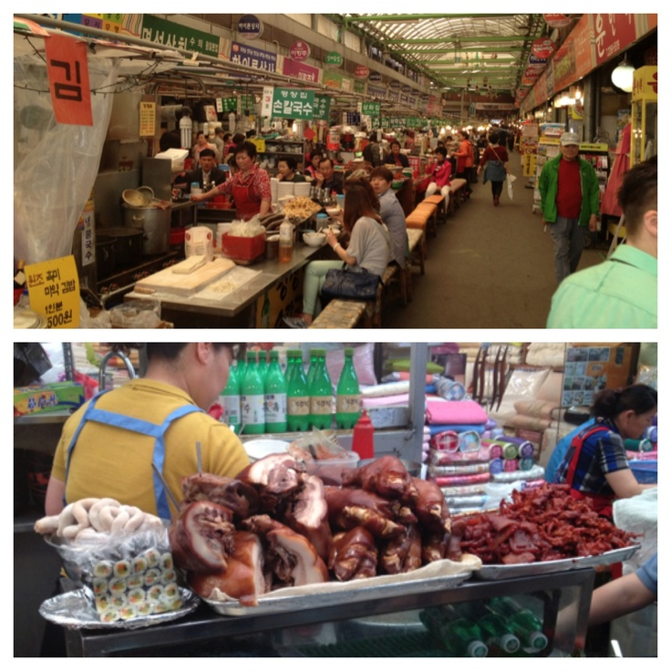 City tour! Våra koreanska vapianister tog oss på en tur i staden.  Tjejernas önskemål: Shopping.  Mitt önskemål: MAT!  Hamnade på en sjukt stor matmarknad, där vi även passade på att luncha. Koreanerna beställde in lite gott och blandat. Ett tips är att smaka först och fråga sen vad det är (eller fråga inte alls). Lite utvalda inälvor och annat gott fyllde våra bukar.  Dagens läxa: Ju mindre du vet, desto bättre.