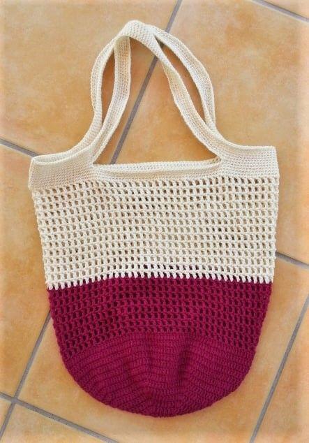 Einkaufsnetz Pink-Weiß mit kleinen Löchern (Acht…