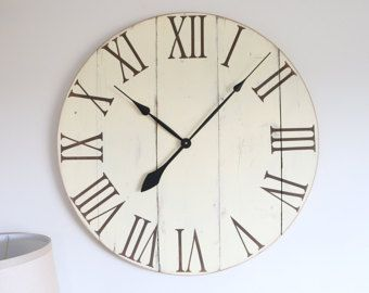 30 in wall clock. White oversized wall by WoodLaneCreationsLLC
