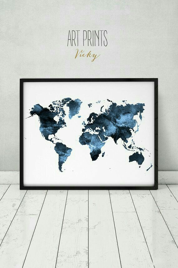 World map watercolor print Travel Map Large