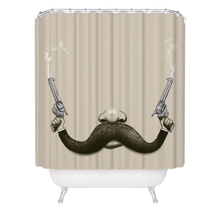 Shower Curtain, Mustache, Guns, Cowboy, Movember, Funny Shower Curtain, Made in USA - Great Decoration Gift for Bathroom by FuzzyInk on Etsy https://www.etsy.com/listing/254924341/shower-curtain-mustache-guns-cowboy