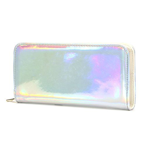 OURBAG Fashion Women Leather Wallet Hologram Color Laser Clutch Purse Silver Medium Buy New:$13.99(On sale from $34.98)