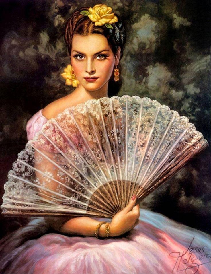 Jesús Helguera painting of Spanish lady holding lace hand fan - lovely