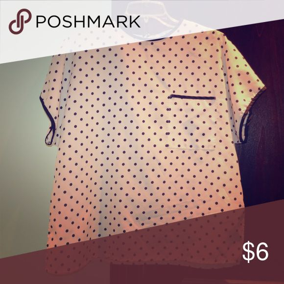 Polka Dot Smock Top Smock style Top with front pocket. Size L-XL Tops Blouses