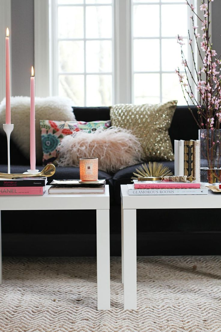 Two small end tables together = money saving coffee table! Great girly decor too.