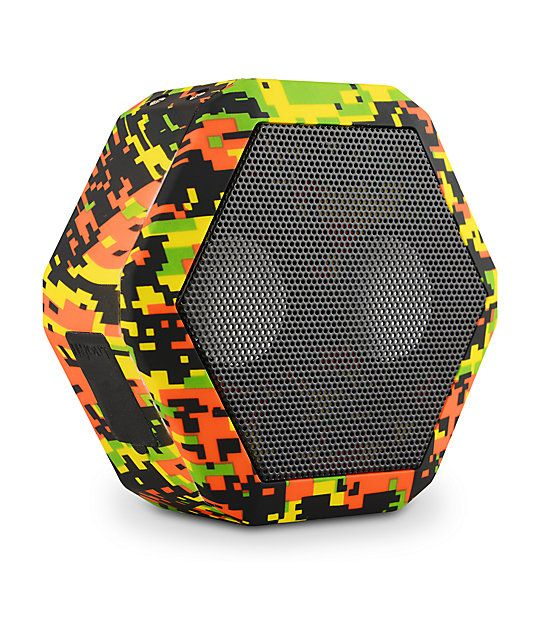 Bring the party where ever you go with a full fidelity stereo with dual 36mm drivers for powerful sound in a water resistant IPX5 rasta colored digi camo print shell.