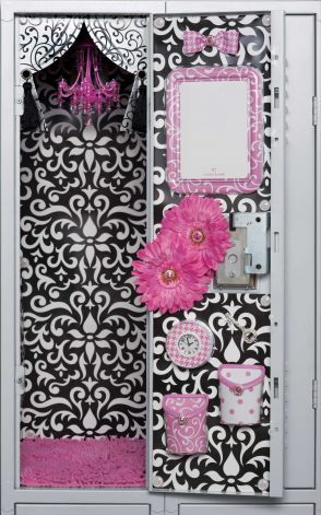 In this product photo provided by LockerLookz, a chandelier, rug, and organizational products, are shown inside a school locker. Locker decorating products are a growing trend among middle school girls. Photo: LockerLookz, Terry Spearman / AP