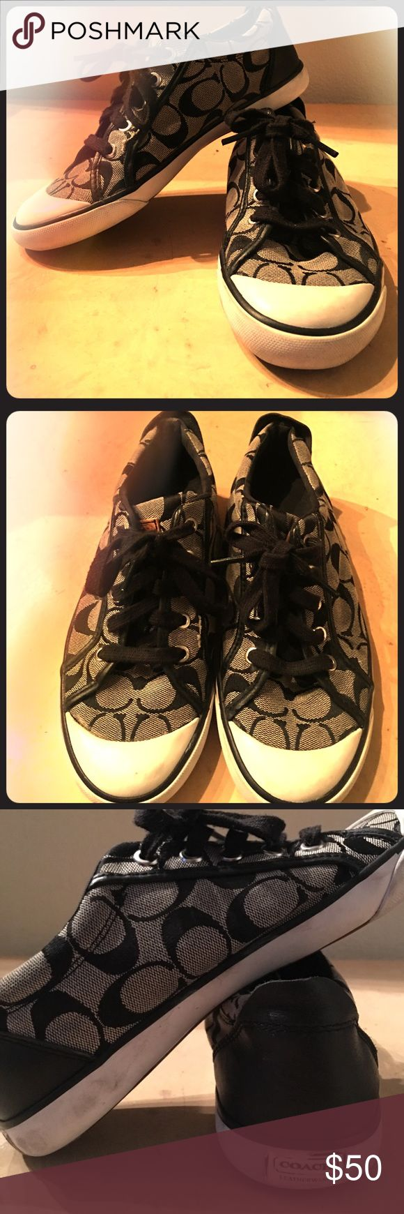 coach tennis shoes Lightly worn coach tennis shoes! extremely comfortable , cute, low cut,  go with just about anything ! From jeans and short to skirt and dresses Coach Shoes Sneakers