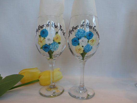 hand painted personalized flower bouquet wine glasses - set of 2