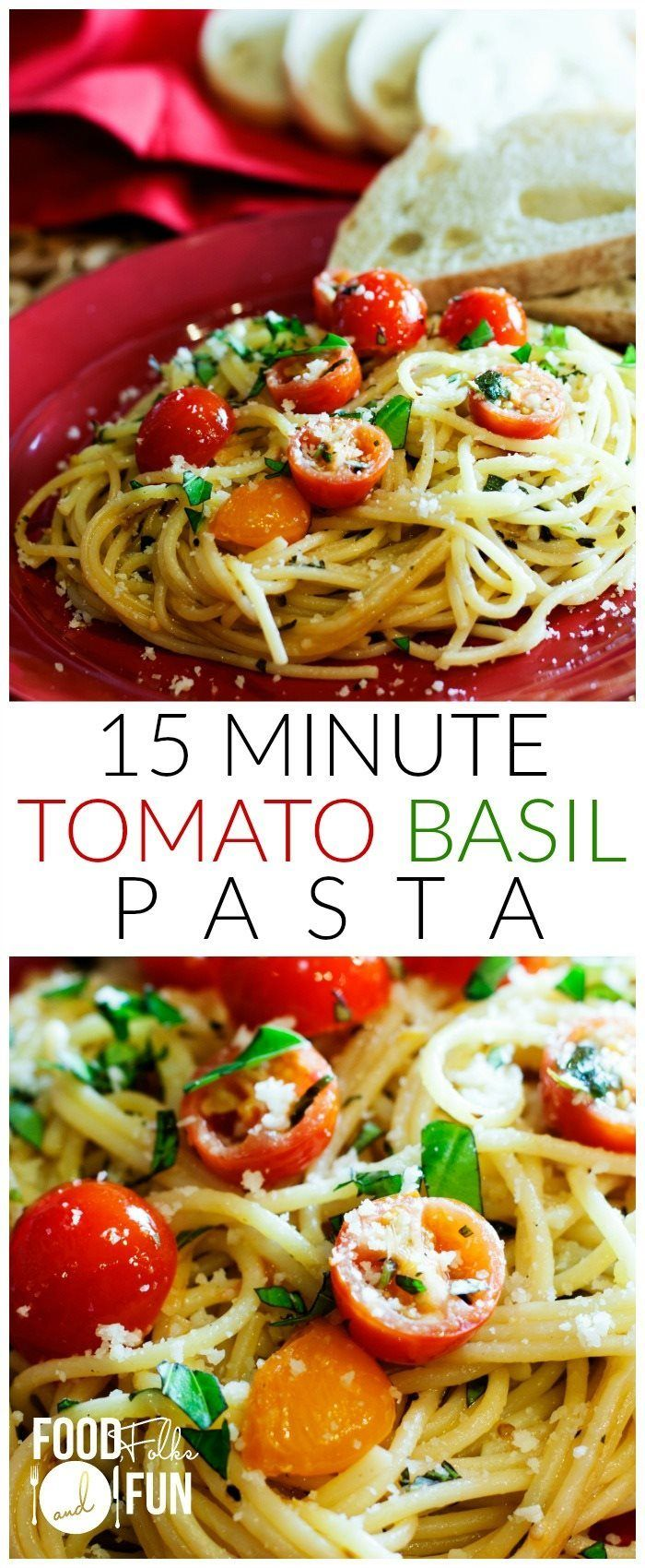 This Tomato Basil Pasta is great for busy weeknights. Once the pasta is cooked, dinner is DONE! 15 minutes is all that you need!