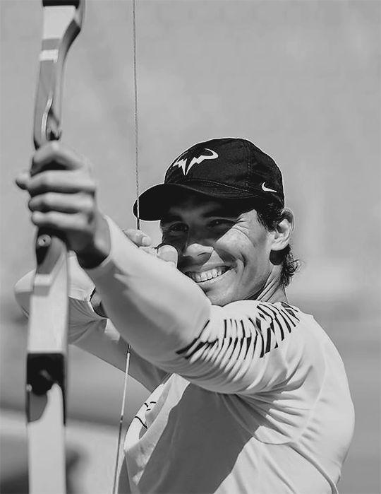Rafael Nadal practising archery at the Olympic Stadium in Barcelona, 24th April 2017.