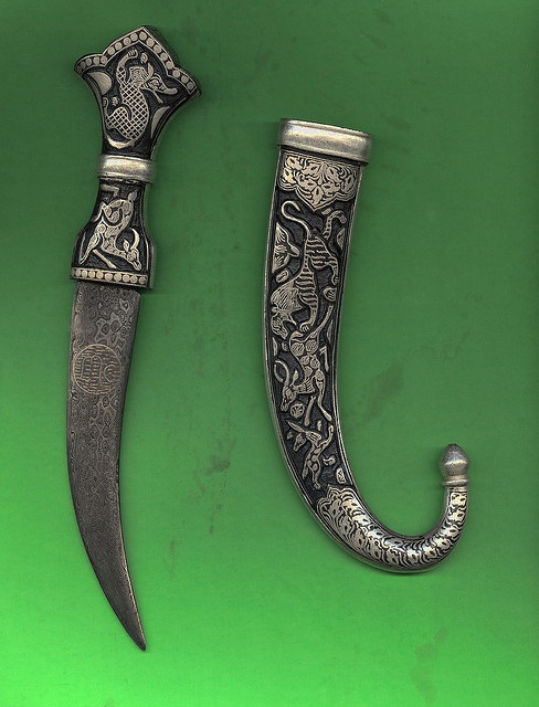 silver handcrafted engraved arabic jambia dagger