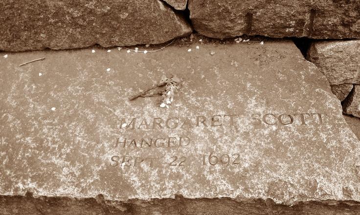 Grave of Margaret Scott who was hanged in 1692. Salem Witch Trials