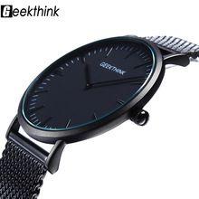 Top Brand Luxury Quartz Black Japan watch stainless steel Mesh strap ultra thin For Men