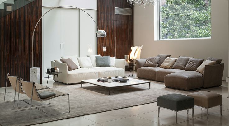 BLOW_sofa | TRATTO_bookcase | POGGIO_low table | PORTOFINO_ottoman | FLEXA_lounge chair | T-GONG_side table
