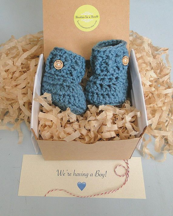 gender reveal booties. baby shower pregnancy reveal to grandparents pregnancy announcement booties gender reveal box gender reveal gift
