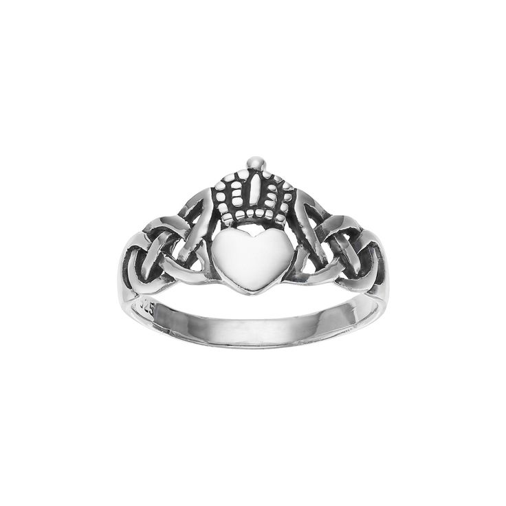Primrose Sterling Silver Claddagh Ring, Women's, Size: 6, Grey