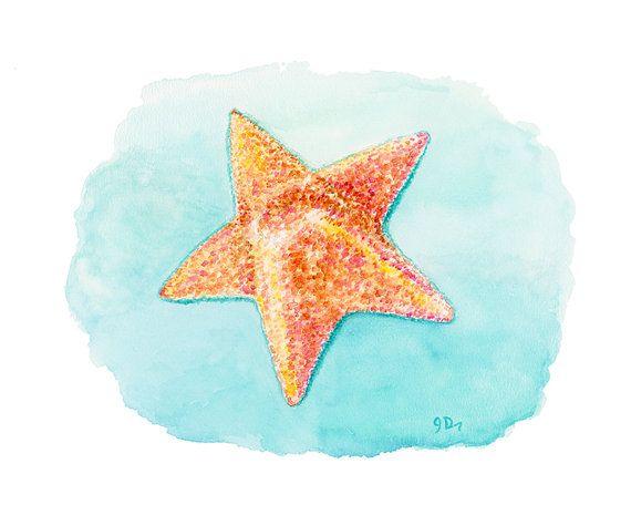 Starfish Watercolor Painting Fine Art Print by jamesriverstudios, $20.00