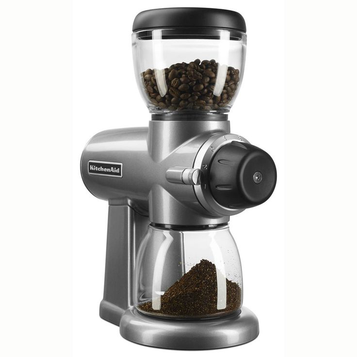 KitchenAid KCG0702CU 7-oz Burr Coffee Grinder w/ 15 Grind Settings, Contour Silver